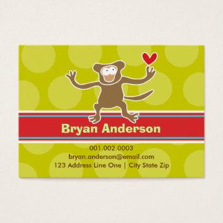 Cartão De Visitas Perfil da foto do miúdo do macaco dos desenhos