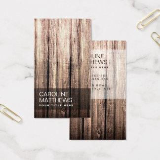 Cartão De Visitas Perfil de madeira resistido na moda do