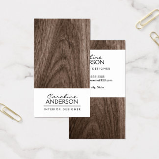 Cartão De Visitas Perfil do profissional da grão da madeira de