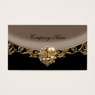 Cartão De Visitas Perfil elegante do boutique do ouro de Brown do