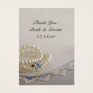 Cartão De Visitas Pérolas, anel e Tag azuis do favor do casamento do