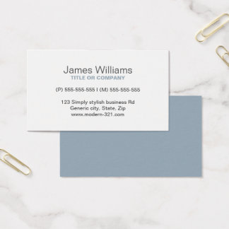 Cartão De Visitas Pessoal elegante simples genérico moderno cinzento