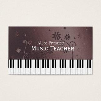 Cartão De Visitas Piano floral do professor de música |
