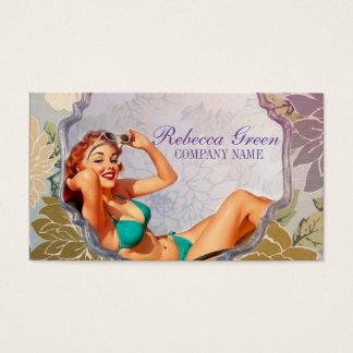 Cartão De Visitas Pin acima do salão de beleza Tanning do estilista
