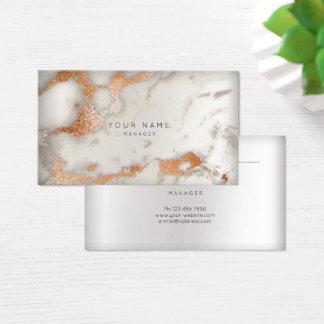 Cartão De Visitas Pin de mármore abstrato do cobre da prata do