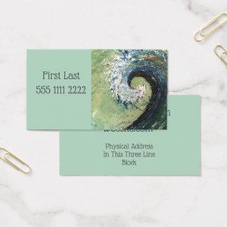 Cartão De Visitas Pintura abstrata das belas artes da onda da praia