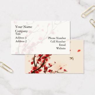 Cartão De Visitas Pintura asiática do estilo, flor da ameixa no