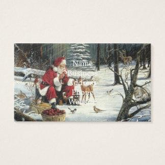 Cartão De Visitas Pintura de Papai Noel - arte do Natal