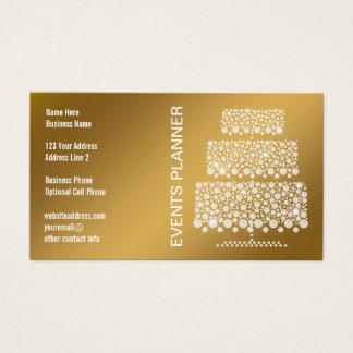 Cartão De Visitas Planejador de eventos elegante do ouro do bolo do