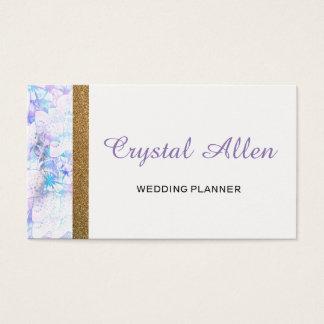 Cartão De Visitas Planejador floral do casamento do brilho do ouro