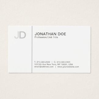 Cartão De Visitas Planície branca do monograma à moda profissional