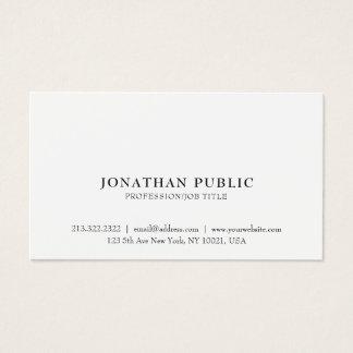 Cartão De Visitas Planície branca elegante lustrosa clássica