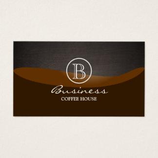 Cartão De Visitas Planície do monograma da onda de Brown do café