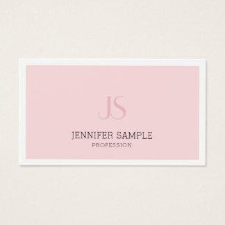 Cartão De Visitas Planície lustrosa do monograma cor-de-rosa