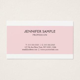 Cartão De Visitas Planície moderna limpa cor-de-rosa elegante do