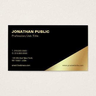 Cartão De Visitas Planície profissional do ouro preto elegante