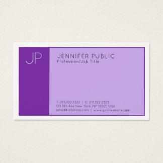 Cartão De Visitas Planície profissional moderna violeta elegante do