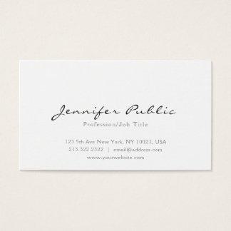 Cartão De Visitas Planície profissional simples branca elegante