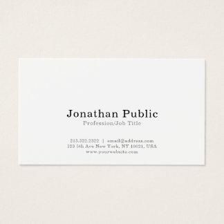 Cartão De Visitas Planície simples branca elegante moderna