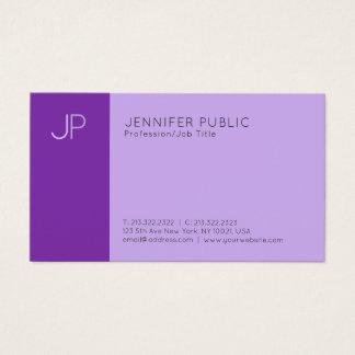 Cartão De Visitas Planície violeta elegante moderna do monograma de