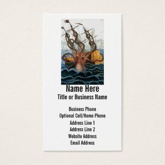 Cartão De Visitas Polvo gigante de Steampunk Kraken náutico