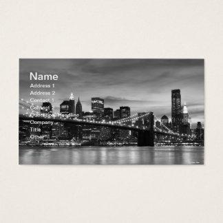 Cartão De Visitas Ponte de Brooklyn e skyline de Manhattan na noite