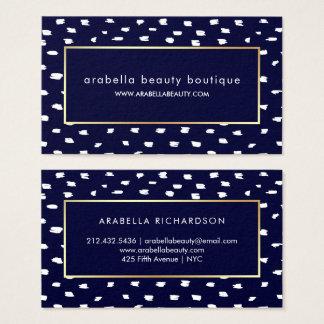 Cartão De Visitas Pontos Glam dos azuis marinhos e do branco e