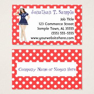 Cartão De Visitas Pontos retros da menina do Pinup Rockabilly