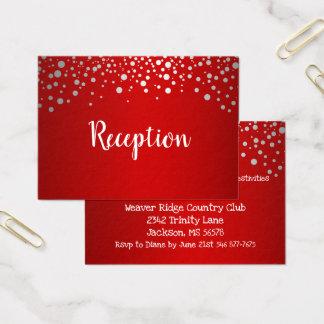 Cartão De Visitas Pontos vermelhos e de prata dos confetes -