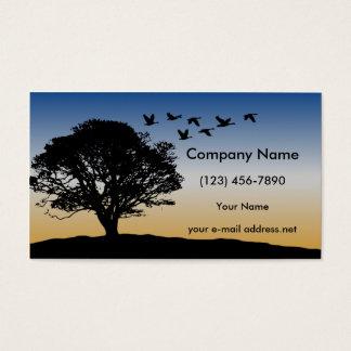 Cartão De Visitas Por do sol moderno dos gansos do vôo da árvore