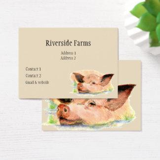 Cartão De Visitas Porco feliz no negócio do animal de fazenda da