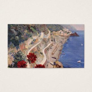 Cartão De Visitas Poster de viagens do italiano do vintage de Amalfi