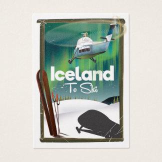 Cartão De Visitas Poster do esqui do vintage de Islândia