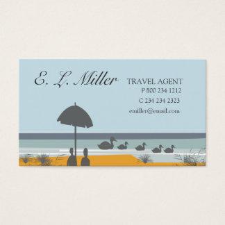 Cartão De Visitas Praia do oceano das férias do agente de viagens