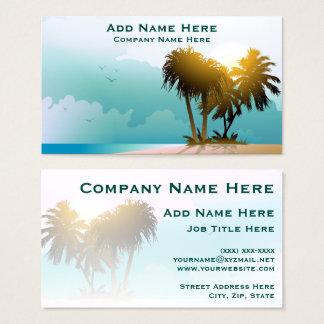 Cartão De Visitas Praia quieta com palmeiras e água azul