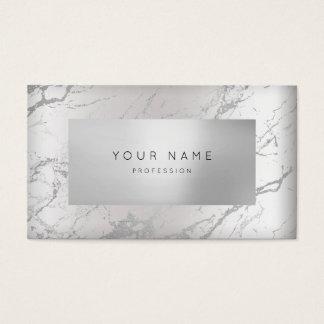 Cartão De Visitas Prata de mármore cinzenta mínima 3D VIP da