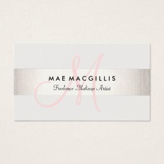 Cartão De Visitas Prata moderna do FALSO do monograma cor-de-rosa