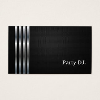 Cartão De Visitas Prata preta profissional do DJ do partido