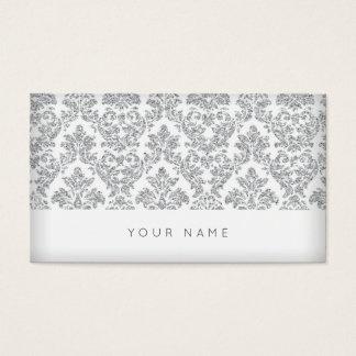 Cartão De Visitas Prata real Chevron cinzento branco Vip do damasco