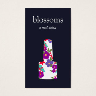 Cartão De Visitas Pregue a garrafa floral do verniz para as unhas do