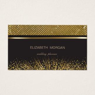 Cartão De Visitas Preto à moda elegante, Sequins do ouro, confetes