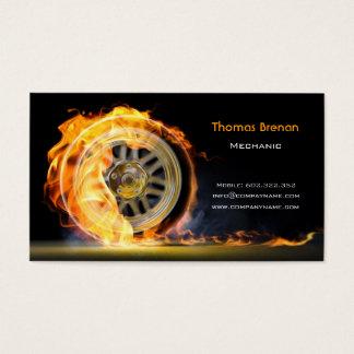 Cartão De Visitas Preto automotriz da chama da velocidade da roda do