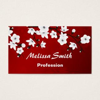 Cartão De Visitas Preto branco vermelho das flores de cerejeira