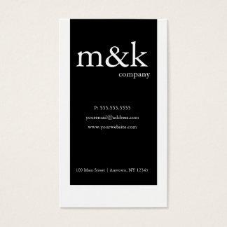Cartão De Visitas Preto & Branco Vertical Empresa ou pessoal