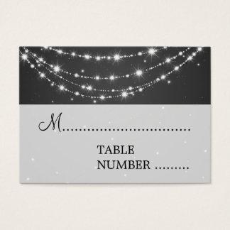 Cartão De Visitas Preto Chain Sparkling de Placecards do casamento