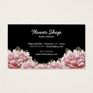 Cartão De Visitas Preto com beira floral inferior cor-de-rosa