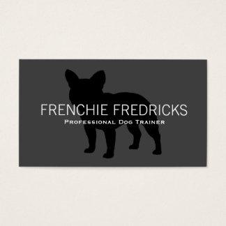 Cartão De Visitas Preto da silhueta do buldogue francês no cinza