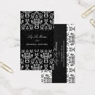 Cartão De Visitas Preto de PixDezines+Damasco branco do vintage de