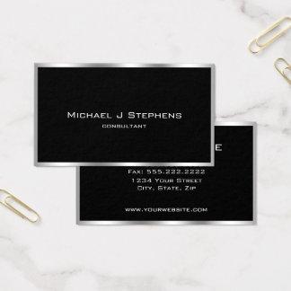 Cartão De Visitas Preto de prata simples elegante e cromo da beira
