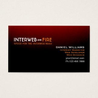 Cartão De Visitas Preto distintivo à Internet-Web vermelha Guru